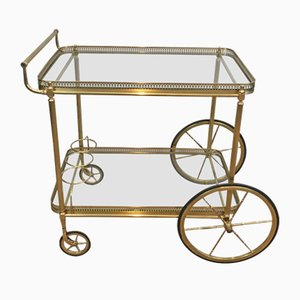 Neoclassical Brass Trolley with Large Wheels, 1940s