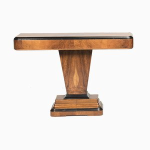 Art Deco Walnut Wood & Ebonized Lacquered Console Tables, 1930s