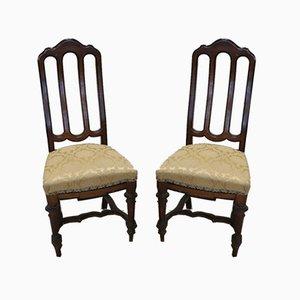 Antike Stühle aus Nussholz, 1880er, 2er Set