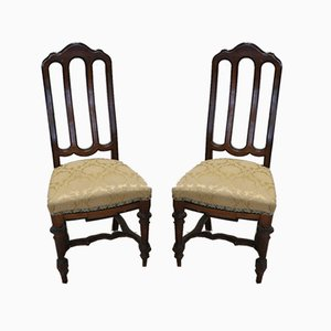 Antique Walnut Chairs, 1880s, Set of 2