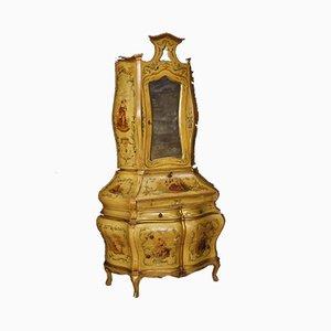 Vergoldeter & lackierter venezianischer Trumeau Schrank