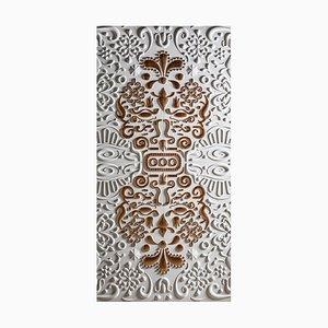 Pannello decorativo Fenice in pietra bianca di Elena Salmistraro per Lithea