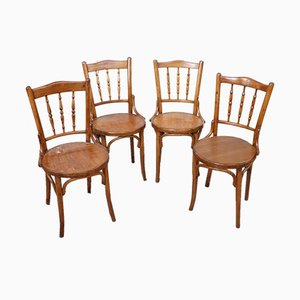 Antique Beech Wood Chairs, 1880s, Set of 4