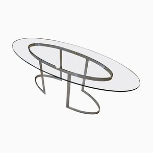 Crystal & Chrome-Plated Steel Table from Saporiti, 1970s