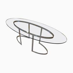 Tisch aus Kristallglas & verchromtem Stahl von Saporiti, 1970er
