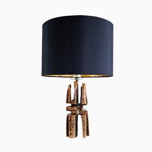 Lámpara de mesa brutalista vintage de bronce, años 60