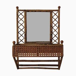 Tiki Spiegel mit Rahmen aus Bambus & Schilfrohr, 1970er