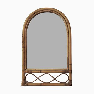 Bamboo and Cane Oval Top Mirror, 1970s