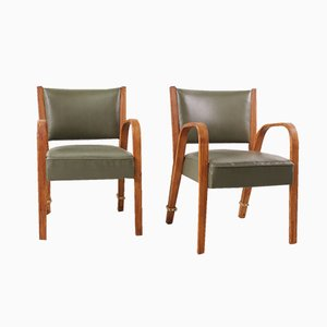 Mid-Century Bentwood Armchairs by Hugues Steiner, Set of 2