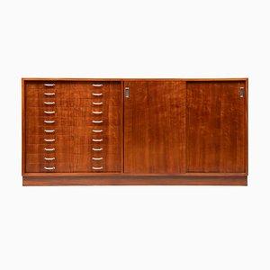 Mid-Century Mahogany Veneered Cabinet with 10 Drawers & 2 Sliding Doors from Heal's