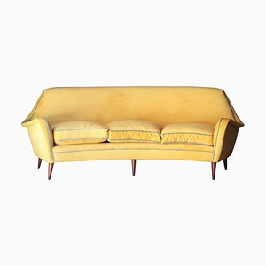 Mid-Century Modern Yellow & Blue Velvet Curved Sofa, 1950s