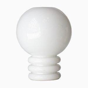Lámpara de mesa Mid-Century moderna de vidrio blanco, años 70