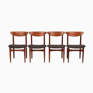 Dänische Mid-Century Esszimmerstühle aus Teak von Dyrlund, 4er Set