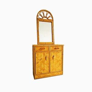 Vintage Bamboo Mirror & Cabinet Set, 1960s
