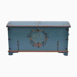 Antike blau gestrichene schwedische Volkskunst Hochzeitstruhe, 1837