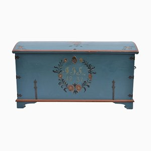Antique Swedish Folk Art Blue Painted Wedding Chest, 1837