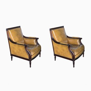 Vintage Leather Club Armchairs, Set of 2