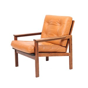 Vintage Rosewood & Leather Lounge Chair by Illum Wikkelsø for Niels Eilersen