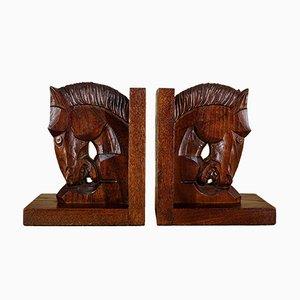 Art Deco Buchstützen mit Pferdekopf, 1920er, 2er Set