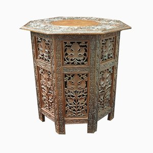 Anglo Indian Carved Teak Octagonal Table, 1910s