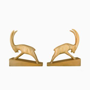 Wood Capricorn Bookends by VEB Rhönwerkstätten, 1950s, Set of 2