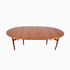 Mesa de comedor escandinava vintage grande de teca