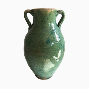 Handmade Blue-Green Glazed Terracotta Pot By Golnaz