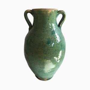 Jarrón de terracota esmaltada a mano en azul verdoso de Golnaz
