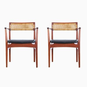 Teak & Leather W26 Armchairs by Eric Wørts for Henrik Wørts Møbelsnedkeri, 1957, Set of 2