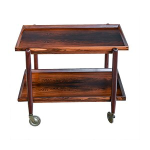 Mid-Century Danish Rosewood Serving Cart by Poul Hundevad, 1960s