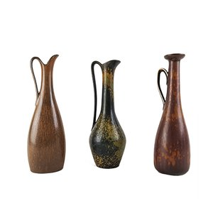 Jarrones Mid-Century de cerámica de Gunnar Nylund para Rörstrand. Juego de 3