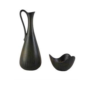 Vaso Mid-Century in ceramica con scodella di Gunnar Nylund per Rörstrand