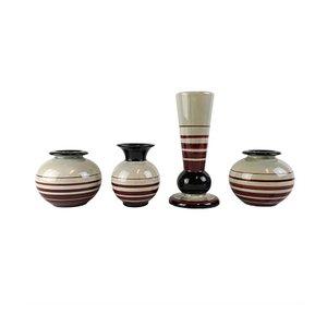 Jarrones estilo Art Déco de cerámica de Ilse Claesson para Rörstrand. Juego de 4