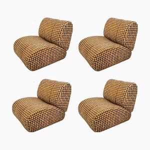 Vintage Lounge Chairs by Gianfranco Grignani for Seven Salotti, Set of 4
