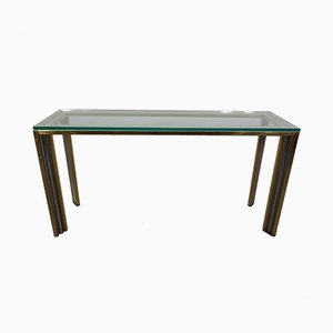 French Chrome & Brass Glass Console Table, 1970s