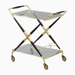 Italian Foldable Bar Trolley by Cesare Lacca, 1950