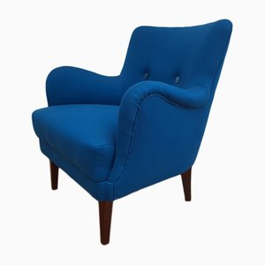 Danish Wool & Beech Armchair, 1970s