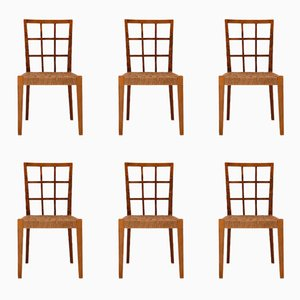 Sedie in vimini di Paolo Buffa, anni '50, set di 6