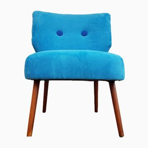 Vintage Armlehnstuhl aus blauem Stoff & Buche, 1970er