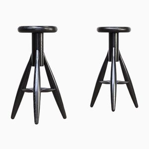 EA001 Black Stools by Eero Aarnio for Artek, 1990s, Set of 2
