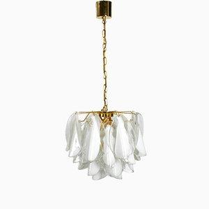 Lámpara de araña grande con cristal de Murano blanco de Gino Vistosi, años 80
