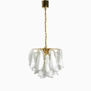 Large Chandelier with White Murano Glass by Gino Vistosi, 1980s