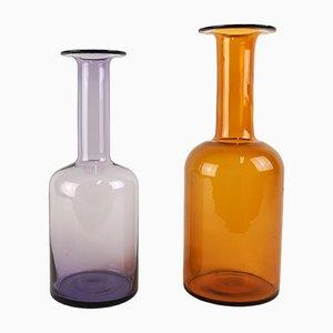 Vases Bouteille Vintage en Verre par Otto Breuer pour Holmegaard, Set de 2