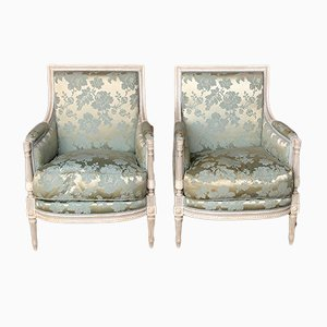 French Silk Bergere Armchairs, Set of 2