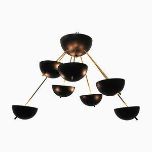 Italienische schwarze Lampe aus Messing, 1960er