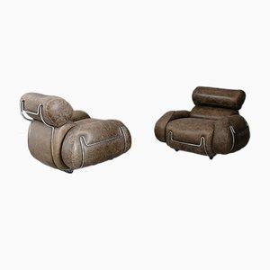 Armlehnstühle aus Leder & Stahl, 1970er, 2er Set