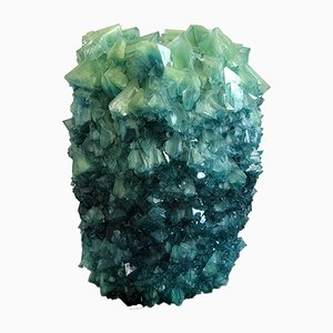 Türkisgrüne 3 Crystal Vase von Isaac Monté, 2019
