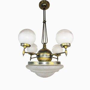 Große Art Deco Deckenlampe, 1900er