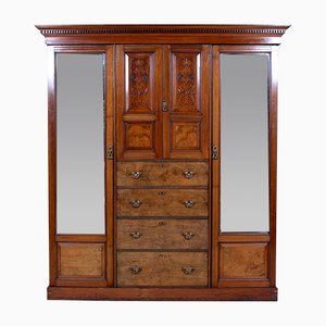 Large Antique Victorian Triple Compactum Wardrobe