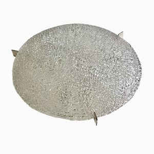 Large Mid-Century Textured Glass Flush Mount from Kaiser Leuchten